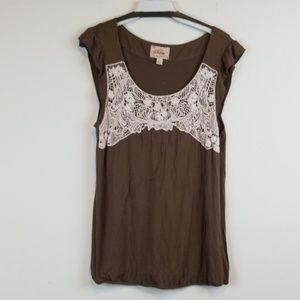Deletta Anthropologie brown lace insert top